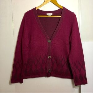 Angora & Silk Blend Cardigan Sweater fuschia SZ L
